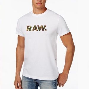 G Star Raw Logo Camo Spell Out Graphic White Tee